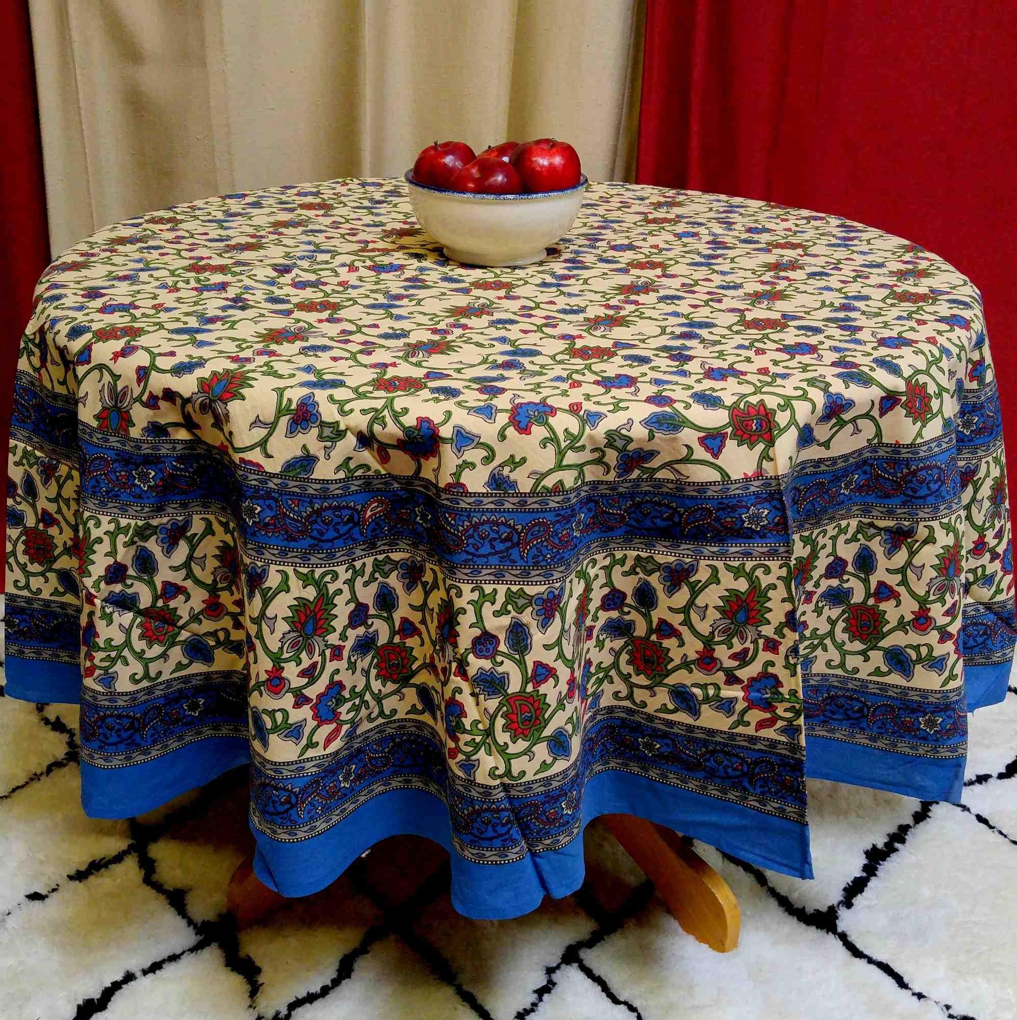 TC05514 - India Arts Tablecloth ~ Several Sizes Available ~ 100% Cotton (Blue/Red Handblock, 72'' Round)