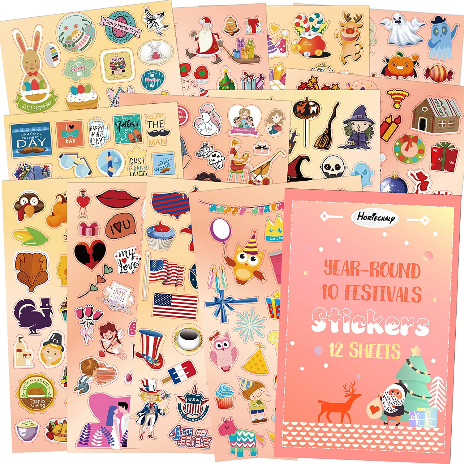 HORIECHALY Holiday Stickers Sheets,Seasonal Year-Round Art Planner Stickers for Scrapbook Calendar Thanksgi Valentine/'s Day Easter Birthday Fathers/' Day 12 Sheets with 10 Festivals Mothers/' Day