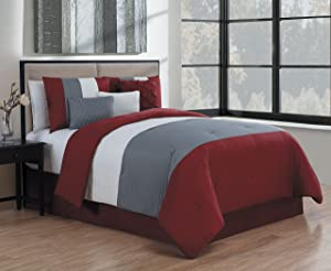 Avondale Manor Manchester 7 Piece Comforter Set, King, Burgundy/Grey/White