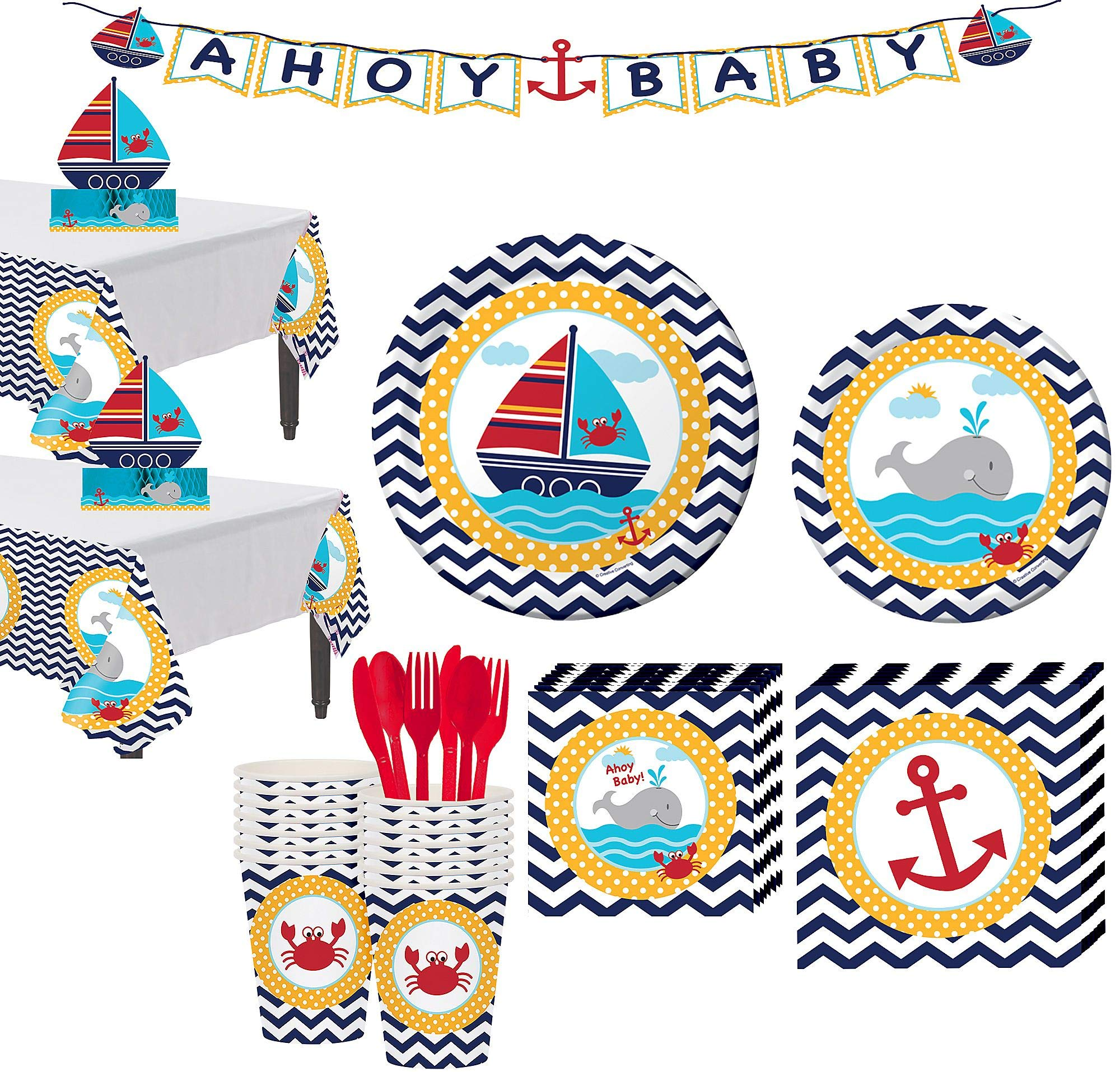 Party City Ahoy Nautical Baby Shower Tableware Kit for 32 Guests, Includes 2 Tables Covers, Centerpiece, Letter Banner