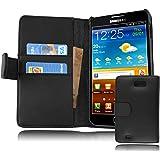 Samsung Galaxy NOTE 1 Hülle in SCHWARZ von Cadorabo - Handyhülle mit Kartenfach für Galaxy NOTE 1 Case Cover Schutzhülle Etui Tasche Book Klapp Style in KAVIAR SCHWARZ