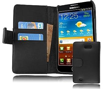 Cadorabo Carcasa Compatible Con Samsung Galaxy Note 1 móvil en Caviar Negro Funda Con Tarjetero de piel sintética liso Case Cover Funda Para portatil