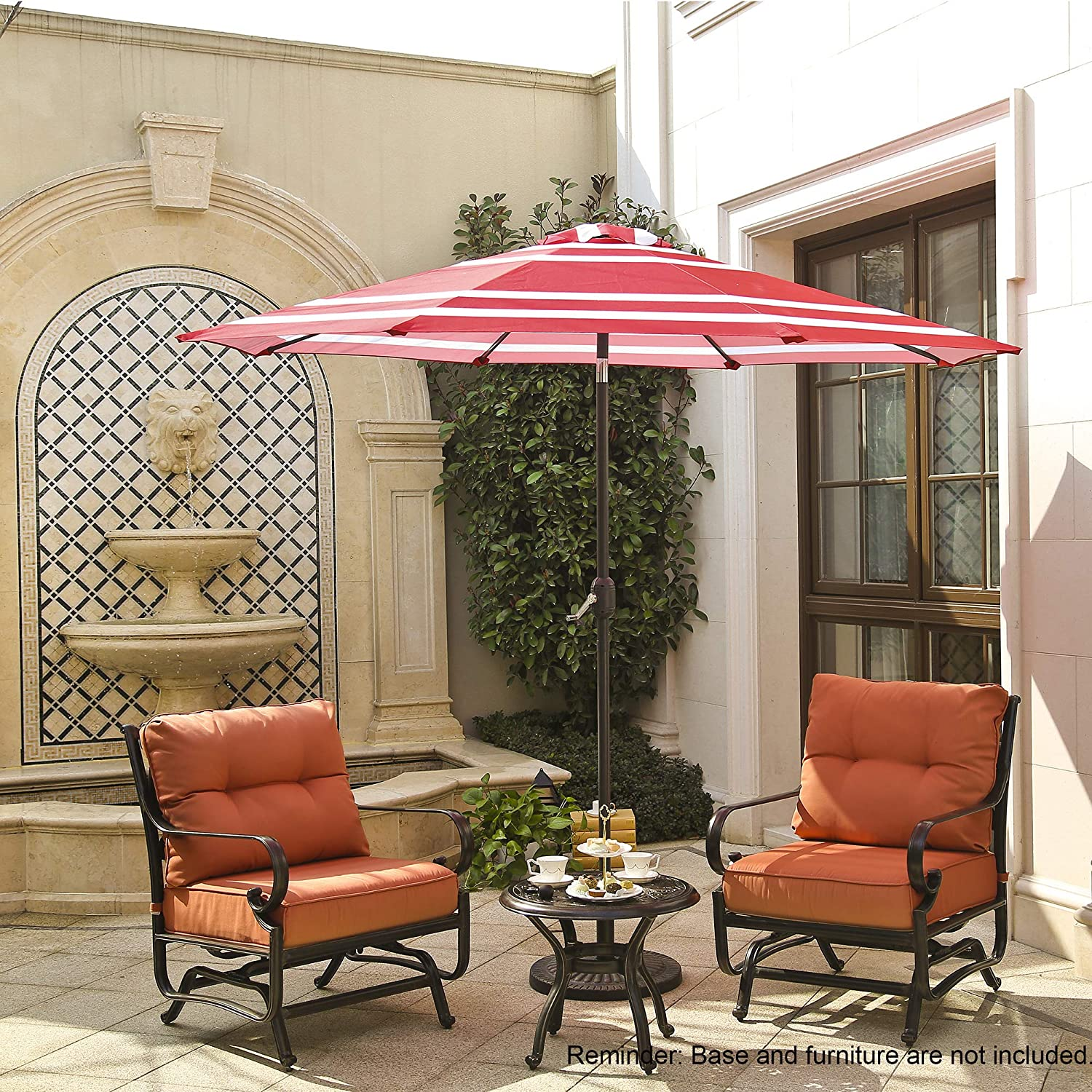 Aok Garden 9 Feet Patio Outdoor Fashion Pattern Umbrella Bendable Table Garden Umbrella with W Crank System and tilt Function Use Update Fabric,Red