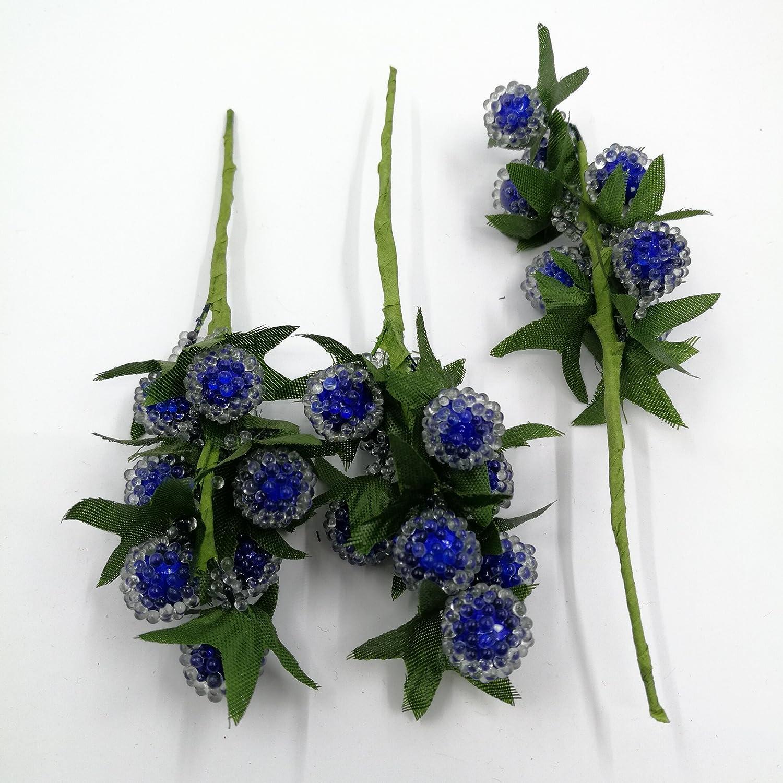 24pcs 9 cmプラスチックチェリークリスタルブルーベリーStamen人工花ウェディングパーティー装飾用ザクロスクラップブッククラフトフラワー ブルー B0762Q7Y9J  ロイヤルブルー