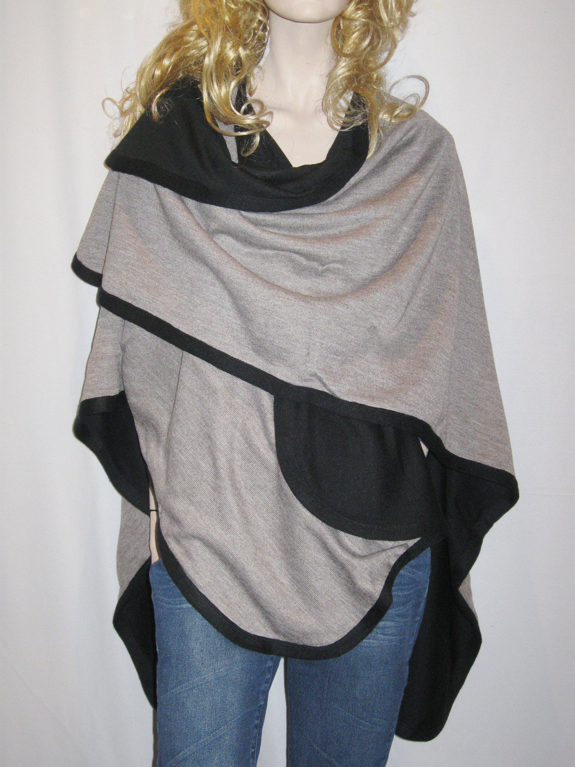 Cashmere Pashmina Group- Cape Woolen Reversible Ruana Knitted Poncho Shawl Cardigans Sweater Coat (Black/ Stone) by Cashmere Pashmina Group (Image #5)
