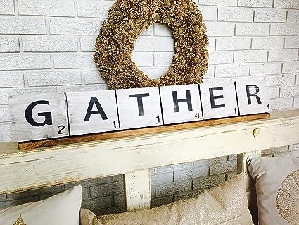 CELYCASY Gather - Letras de Scrabble - Azulejos de Scrabble - Estante Expositor - Decoración de Granja - Letreros de Madera: Amazon.es: Hogar