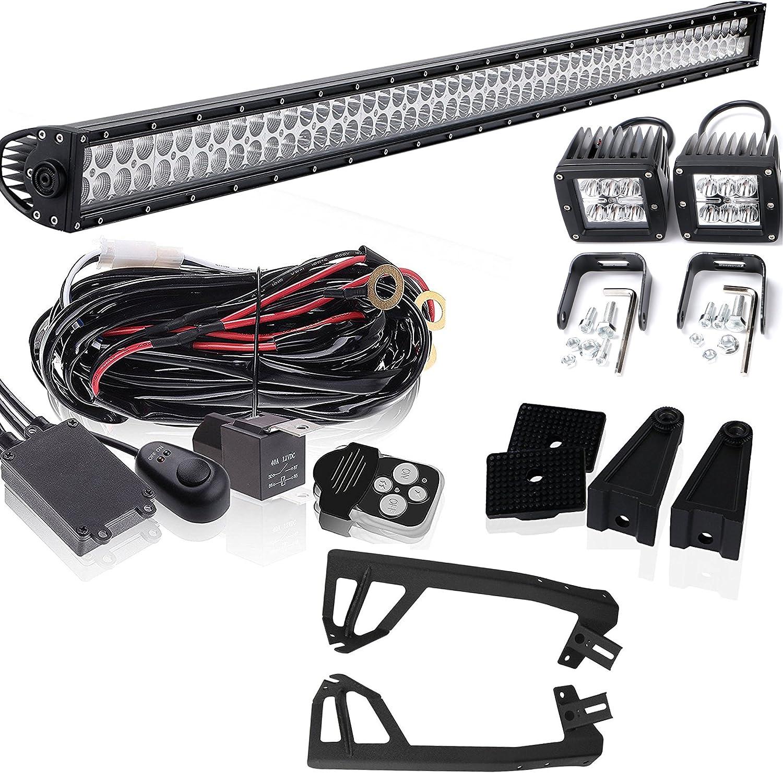 52 Led Light Bar 2x Fog Lights Wiring Harness Jeep Wrangler Tj 4wd For Chevrolet