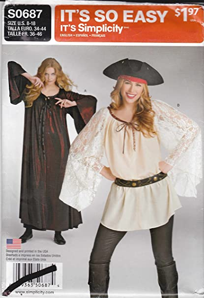 edca66320 Image Unavailable. Image not available for. Color  Simplicity Sewing Pattern  S0687 0687 Misses Sizes 8-18 Easy Pullover Pirate Top Tunic Gown