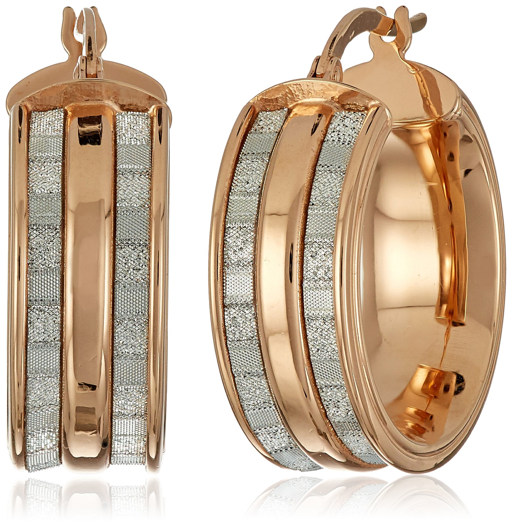 14k Rose Gold Italian Wide Hoop Earrings with Dual Baguette Style Glitter Strips Hoop Earrings by Amazon Collection
