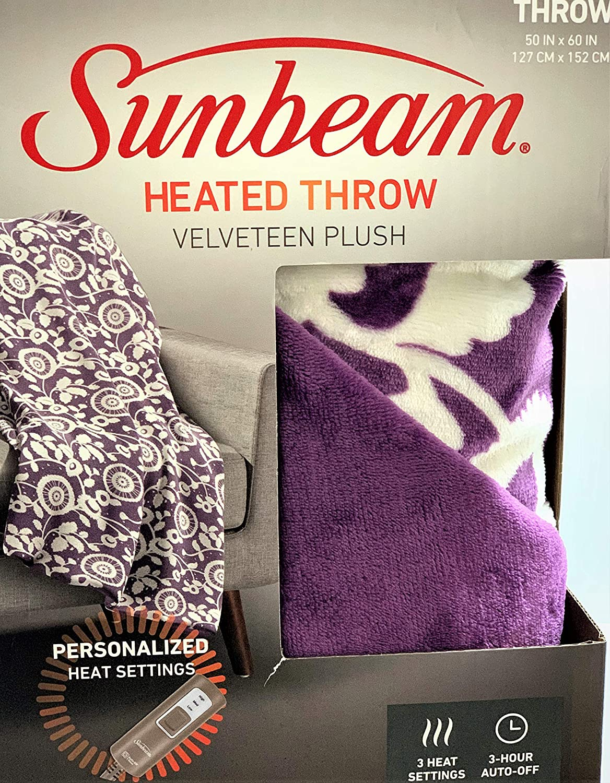 Sunbeam Velveteen Plush Electric Heated Throw Blanket Washable 3-Heat Setting Plus Auto-Off, Purple Floral