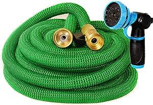 Riemex Expandable Garden Hose Green 75 FT [New 2020] Heavy Duty Water Hose - Triple Latex - Expanding Solid Brass Metal Fittings Connectors, Flexible Strongest 75FT, Green, Hose Nozzle Heavy Duty