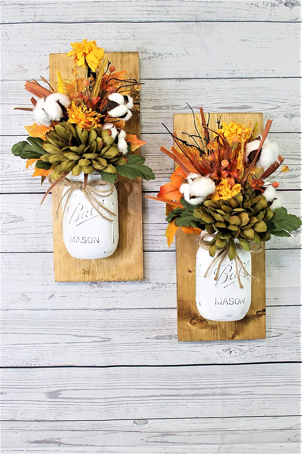 Set of 2 Fall Cotton Bolls Mason Jar Wall Sconces Floral Arrangement