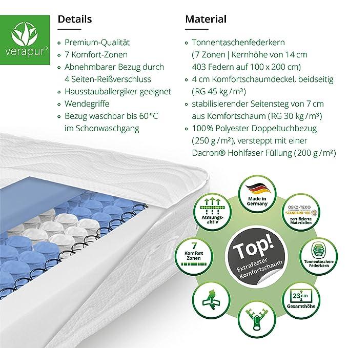 Verapur Ortho Plus Titan tonelada especializa Núcleo de muelles Bolsillos colchón para Grandes Clases de Peso, núcleo de Plumas, H4, 90 x 220 cm: Amazon.es: ...