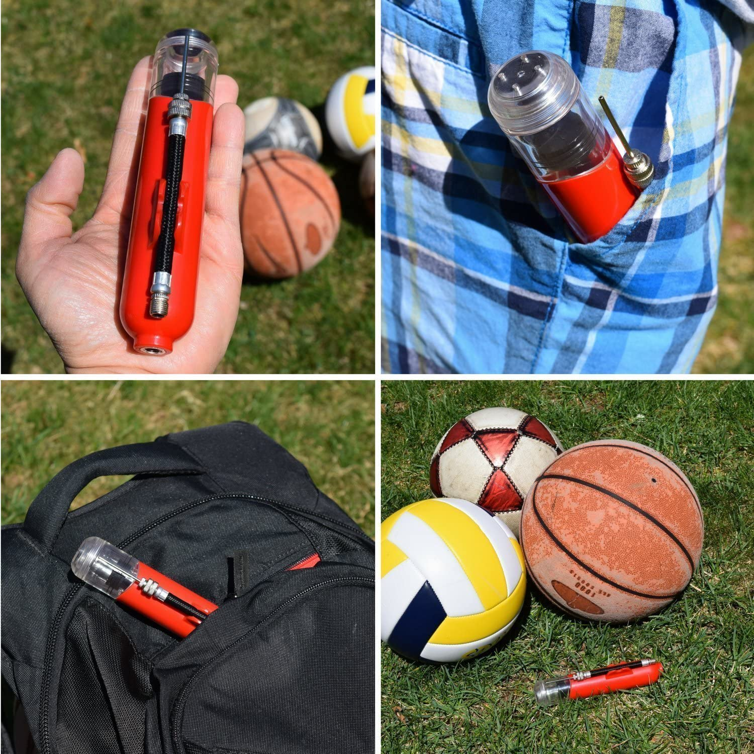 REVIVL Ball Pump with 5 Needles and 1 Nozzle - Air Pump for Inflatables, Basketball, Soccer, Volleyball, Football, Sport Ball - Dual Action for Faster Inflation - Just 6 Inches Small with Hose Holder : Sports & Outdoors
