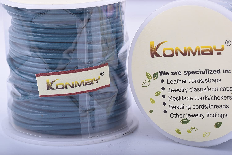 KONMAY 25 Yards Solid Round 1.5mm Matte Dark Green Genuine//Real Leather Cord Braiding String 1.5mm, Matte Dark Green