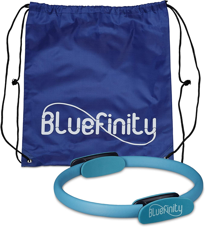 Bluefinity Aro Pilates, Anillo Ejercicio, Yoga, Resistencia, Deporte, Fitness, Plástico Reforzado, 1 Ud, 39 cm, Turquesa