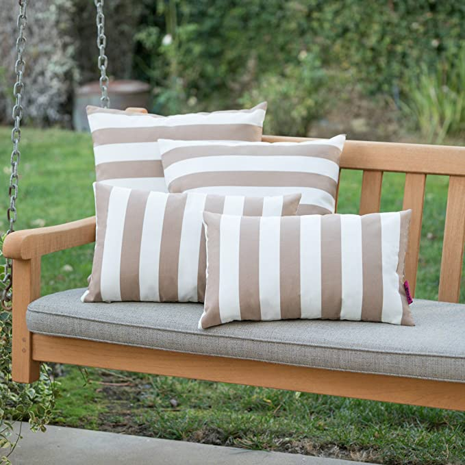 Christopher Knight Home Coronado Outdoor Brown And White Striped Water Resistant Square And Rectangular Throw Pillows Set Of 4 Home Kitchen