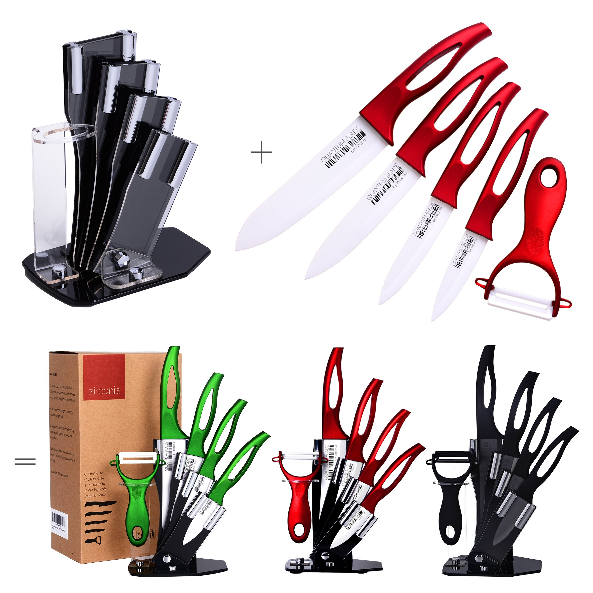 Stylish, Anti Germ, PREMIUM Kitchen Knives, Professional, 6 Piece Red Ceramic Knife Set, Four Razor Sharp, Stain Proof, Double-Edged Ceramic Knives, Ceramic Peeler and Knife Holder by Zirconia