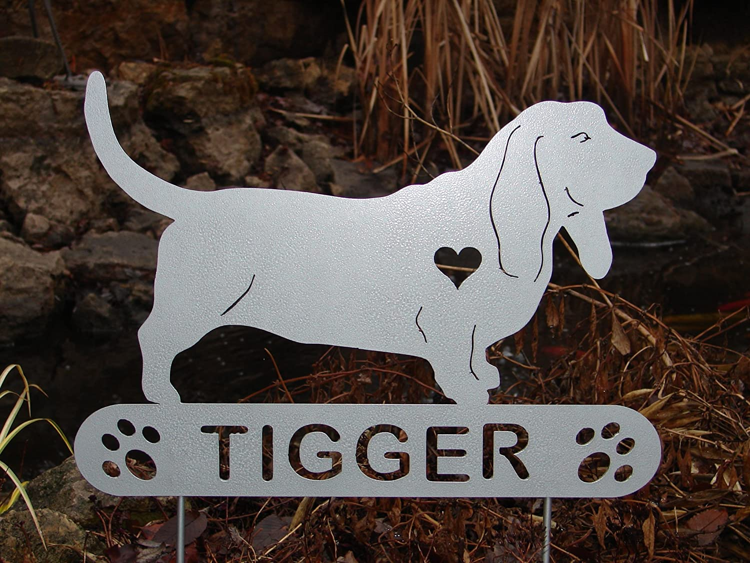 Basset Hound Personalize Pet memorial Garden Stake Dog