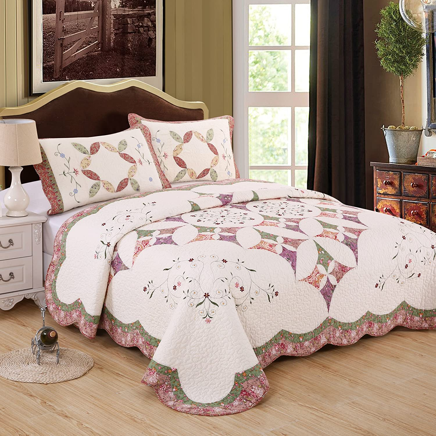 Summer Quilt Linings 3-Piece Real Patchwork Cotton Quilt Set (King) | With 2 Shams Pre-Washed Reversible Machine Washable Lightweight Bedspread Coverlet,Pink,KING SQL