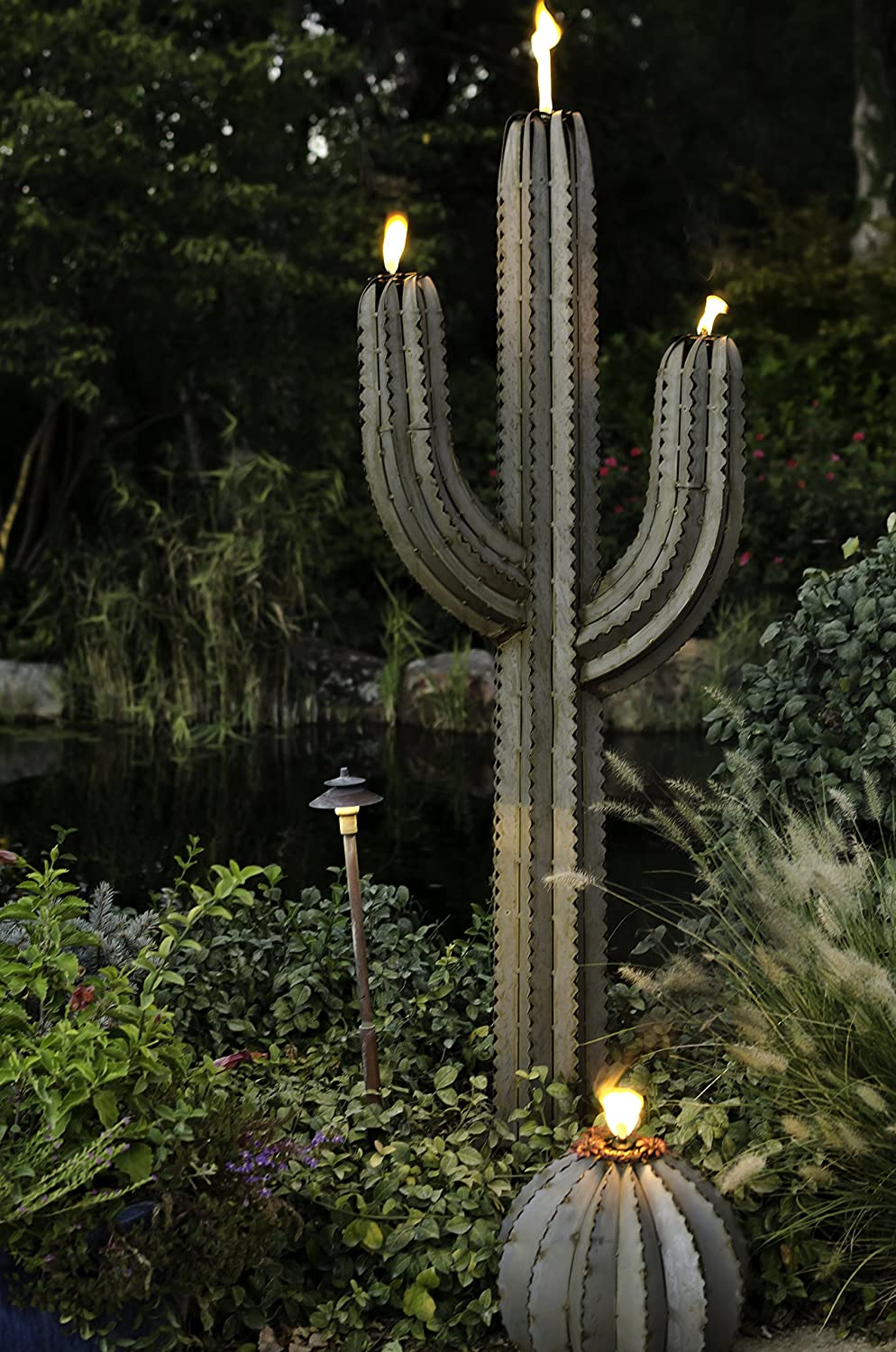 outdoor torch lighting. Desert Steel Saguaro Cactus - Tiki Torch Art Stands 5 Ft. Tall: Amazon.co.uk: Garden \u0026 Outdoors Outdoor Lighting 0