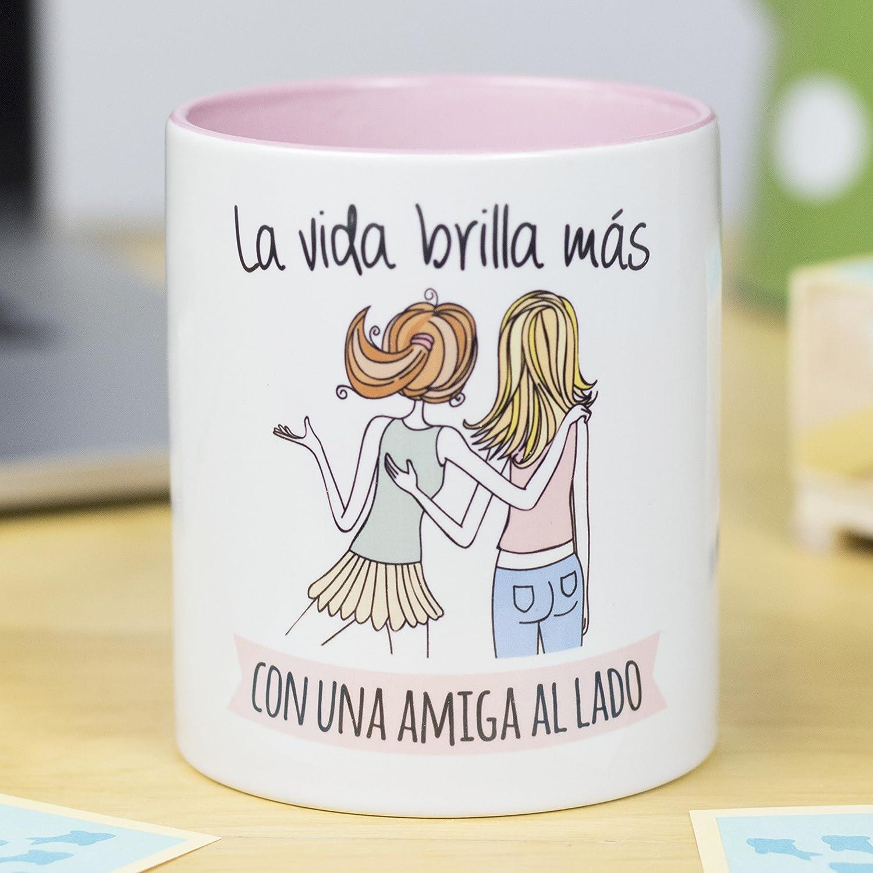 La Mente es Maravillosa - Taza con frase y dibujo, Regalo divertido (La vida brilla más con una Amiga al lado)