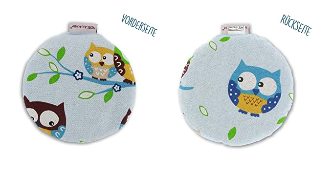 Hobea-Germany – Cojín térmico, relleno de huesos de cereza, para bebés, redondo, en varios diseños Eulen blau