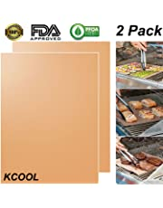 KCOOL Copper Grill Mat Set of 2 - 100% Non-stick BBQ Grill & Baking Mats - FDA Approved, PFOA Free, Easy to Clean and Reusable - As Seen on TV - 15.75 x 13 Inch