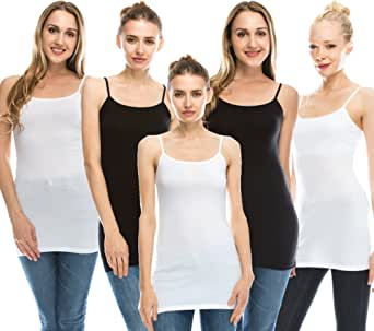 Nolabel Multi Pack Womens Basic Long Length Adjustable Spaghetti Strap Cami Tank Top Camisole Plus (S to 3XL)