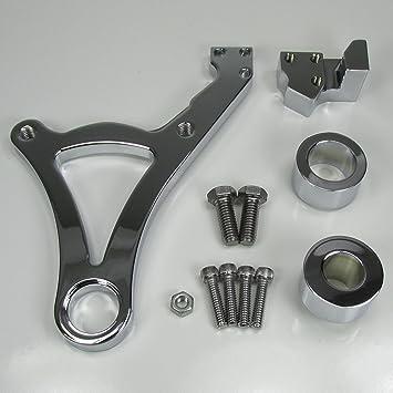 Chrome Four Piston Rear Brake Caliper /& Caliper Hanger for Harley Rear Brakes