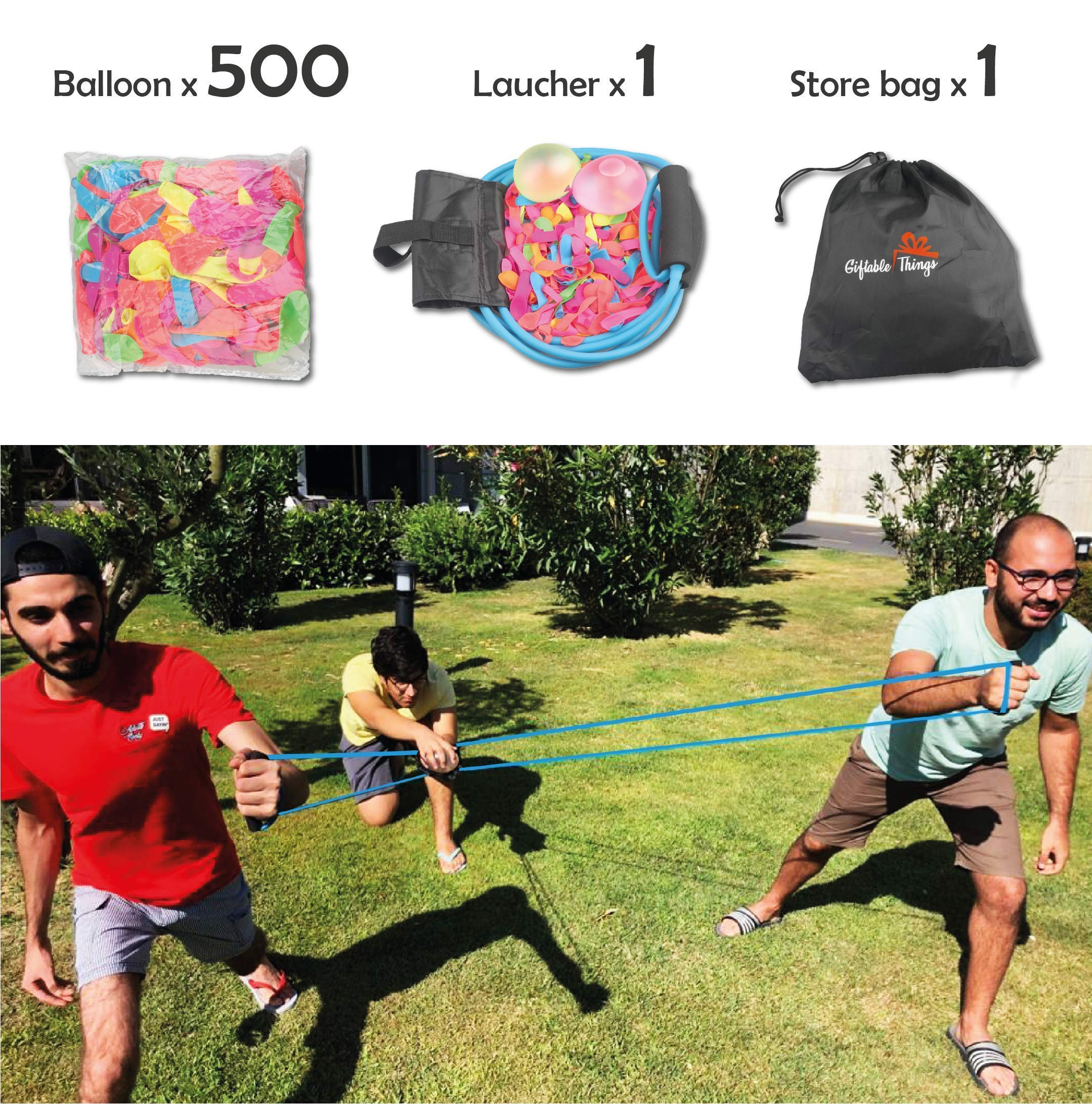 Water Balloon Launcher - Water Balloons Slingshot Cannon 3 People Balloon Launcher For 500 Yards - Outdoor Water Game For Kids and Adults - Coming With Carry Bag Include 500 Water Balloons !! by Giftable Things