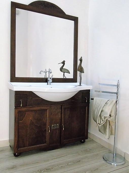 Arredo bagno arte povera con lavabo in ceramica mobile bagno 105 cm ...