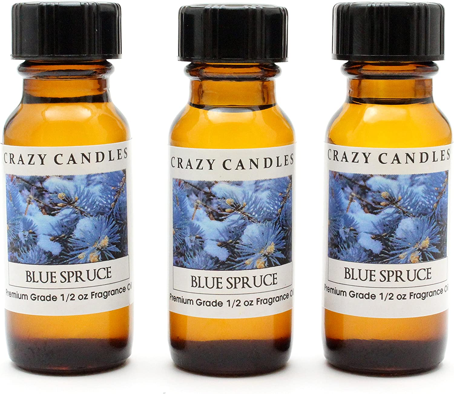Crazy Candles Blue Spruce (Made in USA) 3 Bottles 1/2 Fl Oz Each (15ml) Premium Grade Scented Fragrance Oil (Bluespruce an Excellent Christmas Tree Aroma)