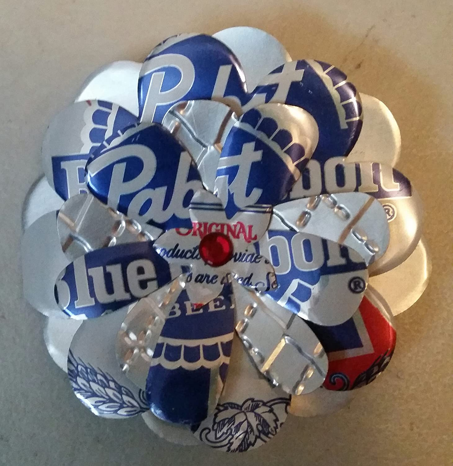 PBR Pabst Blue Ribbon Beer Can Flower Magnet