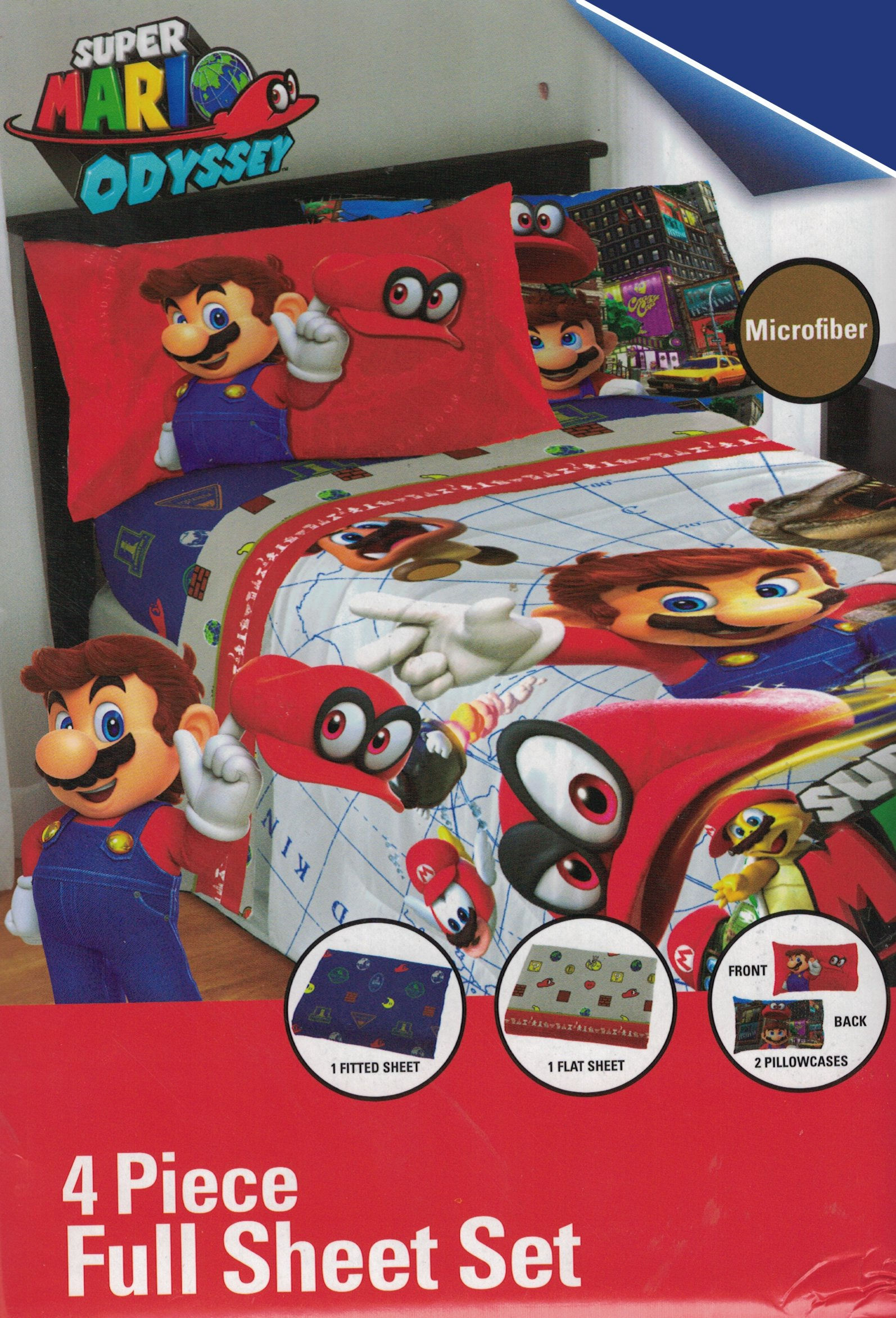 Super Mario Nintendo Odyssey 6pc Full Comforter and Sheet Set Bedding Collection, new 2018
