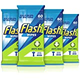 Flash resistente tejido 60 toallitas de limpieza (4 unidades, total 240 toallitas)
