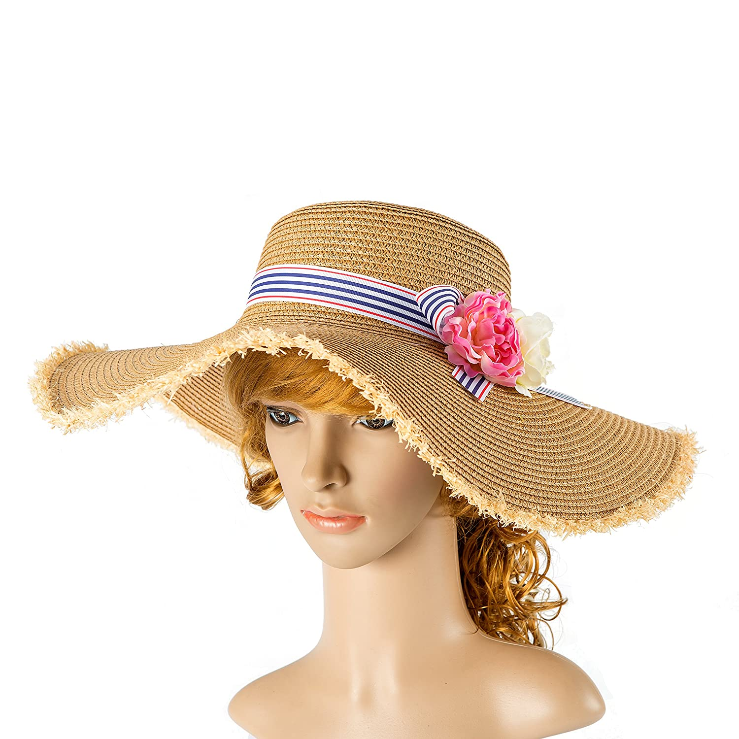 Tropic Beauty - Floppy Hat with camellia Flower stripe Bow Kentucky Derby Race Church Wedding Beach Garden Party