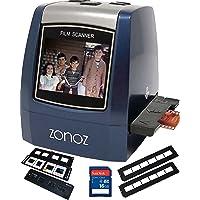 zonoz 22MP All-in-1película & Slide escáner w/adaptadores para 35mm negativo y diapositivas, 126, 110, Super 8películas, todo el mundo 110/24ac adaptador tarjeta SD de 16GB y extra bandejas (fs-three Bundle)
