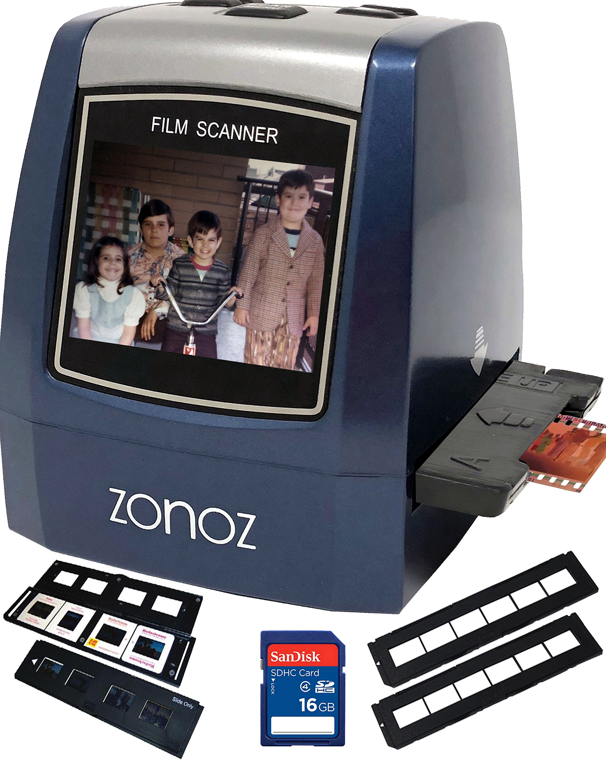 zonoz 22MP All-In-1 Film & Slide Scanner w/ Speed-Load Adapters for 35mm Negative & Slides, 126, 110, Super 8 Films, Worldwide 110/24AC Adapter 16GB SD Card & Extra Trays (FS-THREE BUNDLE) by zonoz