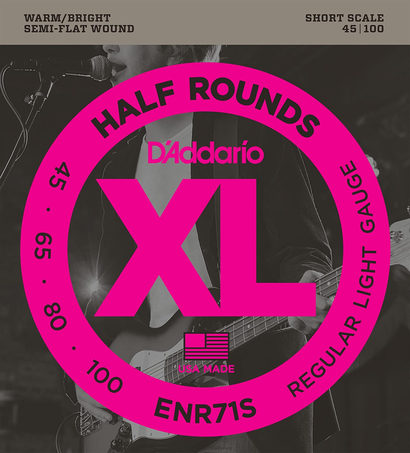 D'Addario ENR71S Half Round Bass Guitar Strings, Regular Light, 45-100, Short Scale D'Addario &Co. Inc