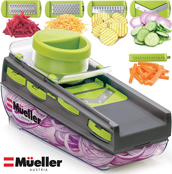 Mueller Austria Premium Quality Mandoline-Pro Multi Blade Adjustable Salad Utensil Cheese/Vegetable Slicer, Cutter, Shredder, Zester with Built-In Blade Storage and Container