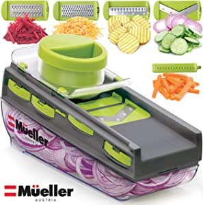 Mueller Austria Premium Quality Mandoline Zester-Pro Multi Blade Adjustable Cheese/Vegetable Slicer, Cutter, Shredder, Zester with Built-in Blade Storage and Container