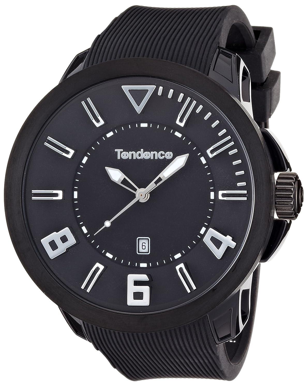 Tendence Gulliver Sport Unisex Quarzuhr mit schwarzem Zifferblatt Analog-Anzeige und Kunststoff oder PU Gurt schwarz