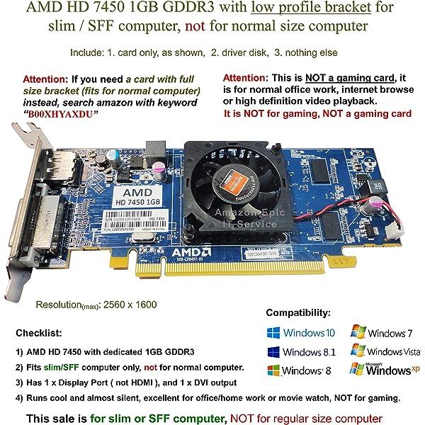 Lenovo AMD Radeon HD 7450 1GB DDR3 PCIe x16 DP DVI Low Profile Video Card BD3A75