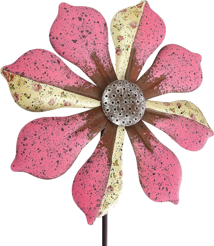 Regal Art /& Gift 12295 Rustic Flower Pink Wind Spinner
