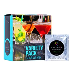 Craftmix Cocktail Mix Mojito,Mango Margarita, Whiskey Sour,Variety Pack,Vegan,Gluten Free,Low Carb,Low Sugar,For Mocktail,Liquor and Non Alcoholic Beverages,10 Single Serving Packets(6 Grams Each)