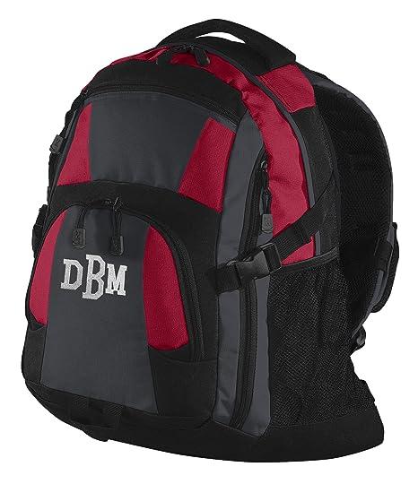 Personalizado rojo y negro Urban Mochila bolsillo con bordado Colegio Monogram en la parte inferior