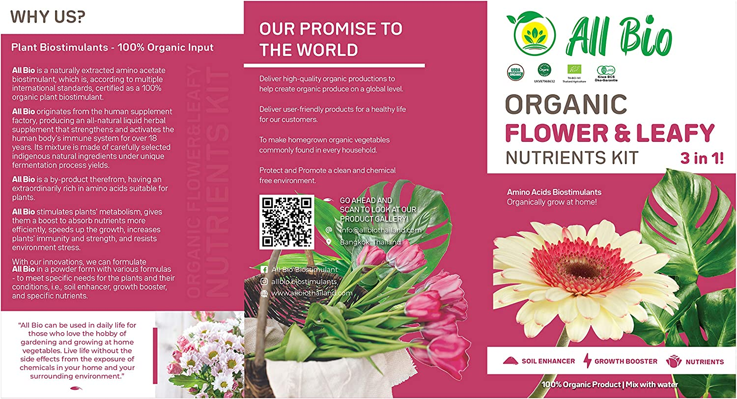 ALL BIO - Organic Plant Food Starter Kit - Flower and Leafy Plants/Indoor Houseplant Garden Nutrients Kit/Blooming Kit/Foliar Spray (10g - 3 Sachets) Covers Approx. 1,400 sq.ft