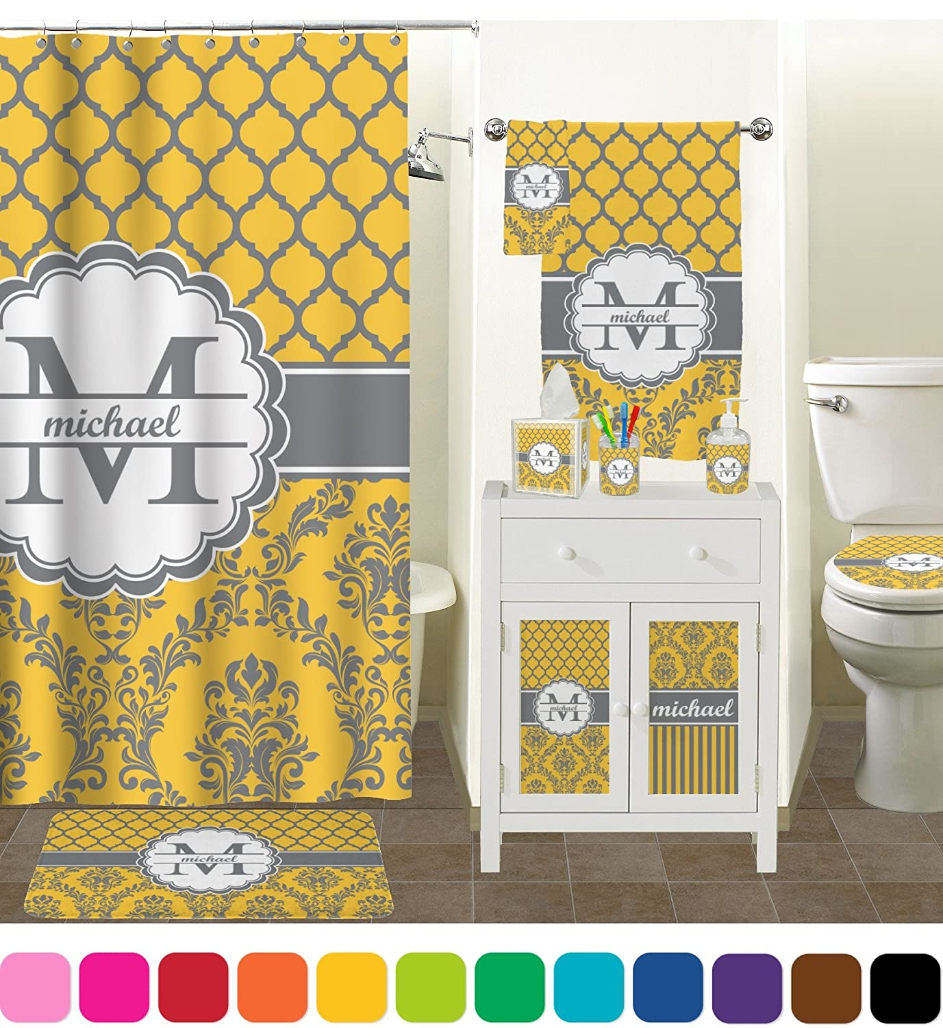 Moroccan bathroom accessories - Amazon Com Damask Moroccan Bathroom Accessories Set Personalized Home Kitchen