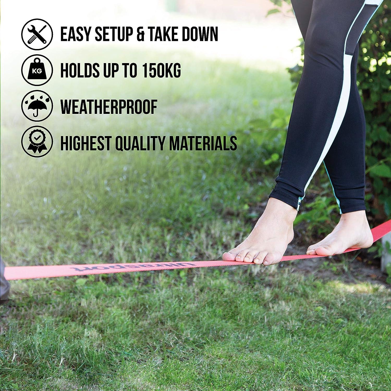 Ultrasport Slackline Basic e Avanzato con Protezione e Cricchetto per Il Divertente Sport Slackline da 15 m e 25 m